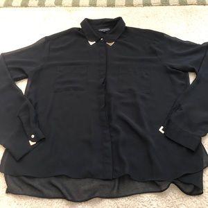 TopShop Sheer Black Blouse